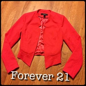 F21 Red Cropped Blazer